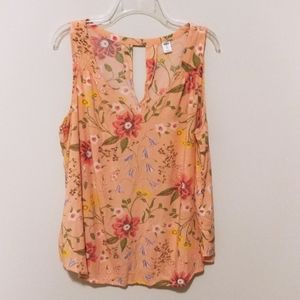 Peach Floral Keyhole Sleeveless Top (XXL)